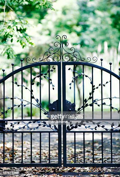 Gate with a leafy design enclosing a space