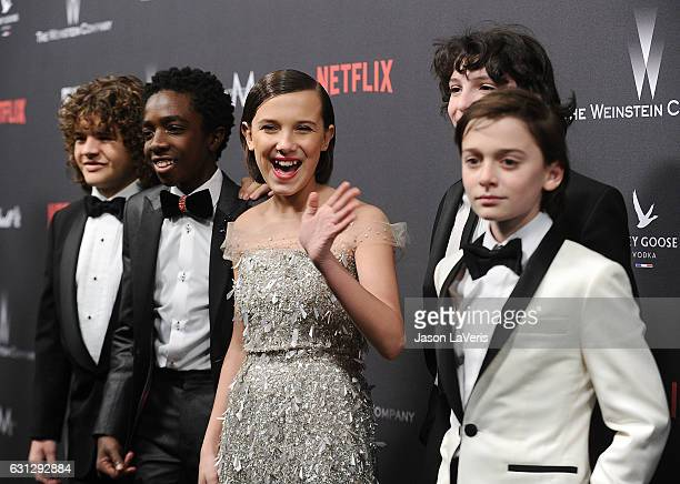 Gaten Matarazzo Caleb McLaughlin Millie Bobby Brown Finn Wolfhard and Noah Schnapp attend the 2017 Weinstein Company and Netflix Golden Globes after...