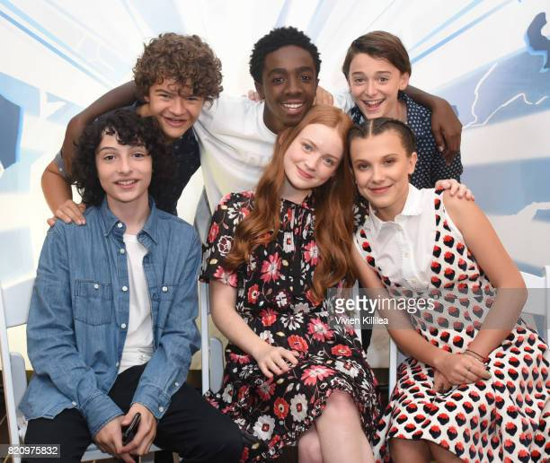 Gaten Matarazzo Caleb McLaughlin Noah Schnapp Finn Wolfhard Sadie Sink and Millie Bobby Brown attend SiriusXM's Entertainment Weekly Radio Channel...