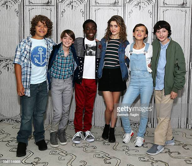 Gaten Matarazzo Noah Schnapp Caleb McLaughlin Natalia Dyer Millie Bobby Brown and Finn Wolfhard attend BUILD Series at AOL HQ on August 31 2016 in...