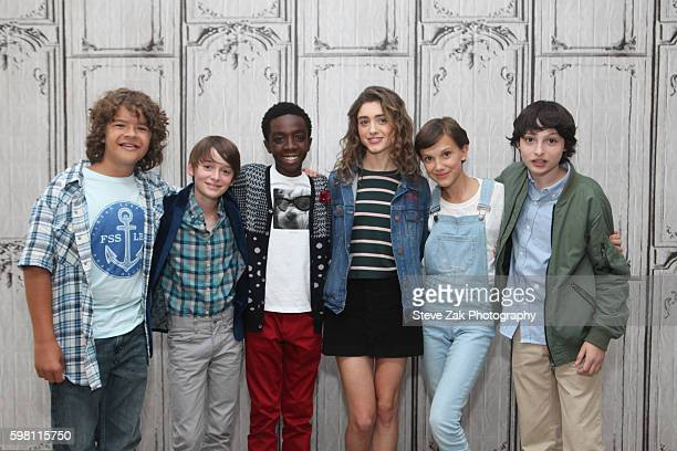 Gaten Matarazzo Noah Schnapp Caleb McLaughlin Natalia Dyer Millie Bobby Brown and Finn Wolfhard attend Build Seris to discuss their show 'Stranger...