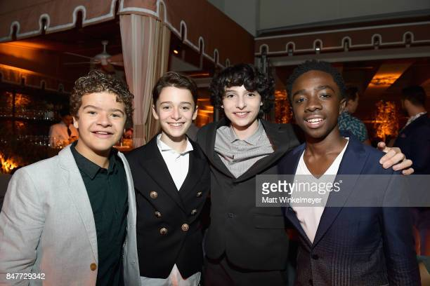 Gaten Matarazzo Noah Schnapp Finn Wolfhard and Caleb McLaughlin attend the 2017 Entertainment Weekly PreEmmy Party at Sunset Tower on September 15...