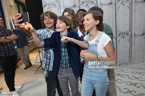 Gaten Matarazzo Noah Schnapp Millie Bobby Brown and Finn Wolfhard attend Build series to discuss 'Stranger Things' at AOL HQ on August 31 2016 in New...