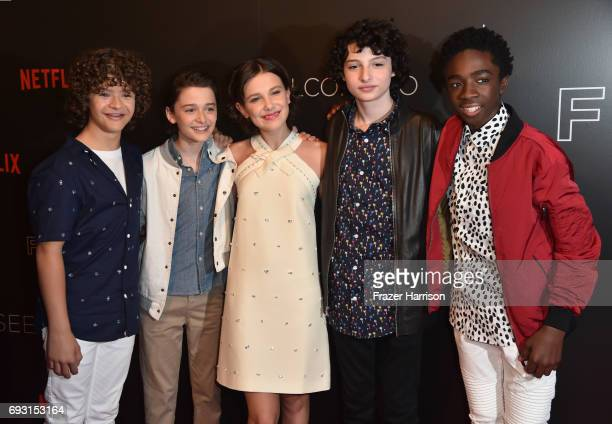 Gaten Matarazzo Noah Schnapp Millie Bobby Brown Finn Wolfhard and Caleb McLaughlin attend Netflix's 'Stranger Things' For Your Consideration event at...