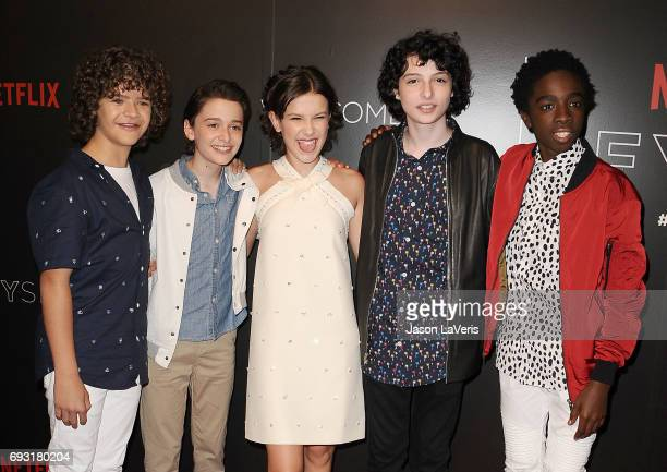 Gaten Matarazzo Noah Schnapp Millie Bobby Brown Finn Wolfhard and Caleb McLaughlin attend the 'Stranger Things' FYC event at Netflix FYSee Space on...