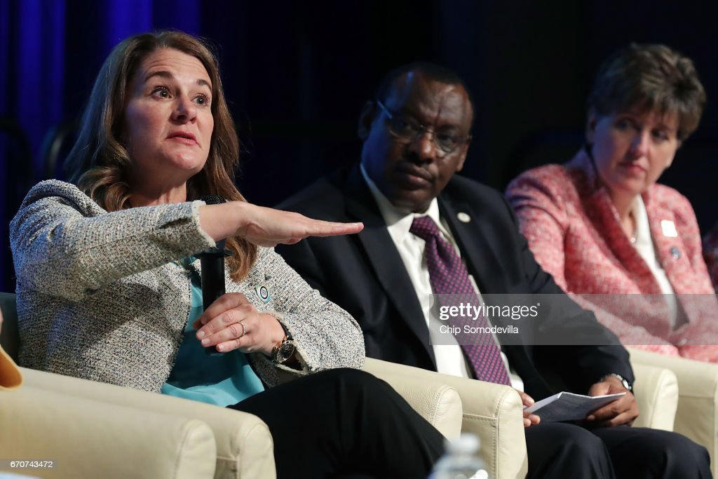 Gates Foundation Co-Chair Melinda Gates, Rwandan Minister of Finance and Economic Planning Claver Gatete and Canadian Minister of International Development and La Francophonie Marie Claude Bibeau participate in a panel discussion during the World Bank Group and International Monetary Fund Spring Meetings April 20, 2017 in Washington, DC. The discussion, titled 'How Investing in Adolescents Today Can Change the World of Tomorrow,' focused on the the World Bank Group's Generation Now initiative.