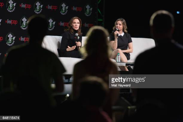Gates McFadden and Clare Kramer speak on stage during Emerald City Comic Con at Washington State Convention Center on March 4 2017 in Seattle...