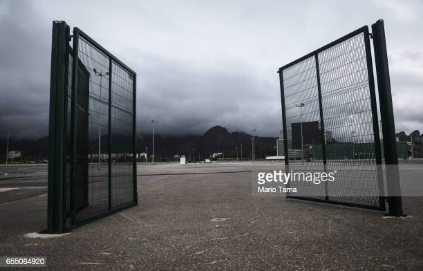 Gates remain in the mostly abandoned Olympic Park on March 18 2017 in Rio de Janeiro Brazil Seven months after the Rio hosted the first Olympic games...