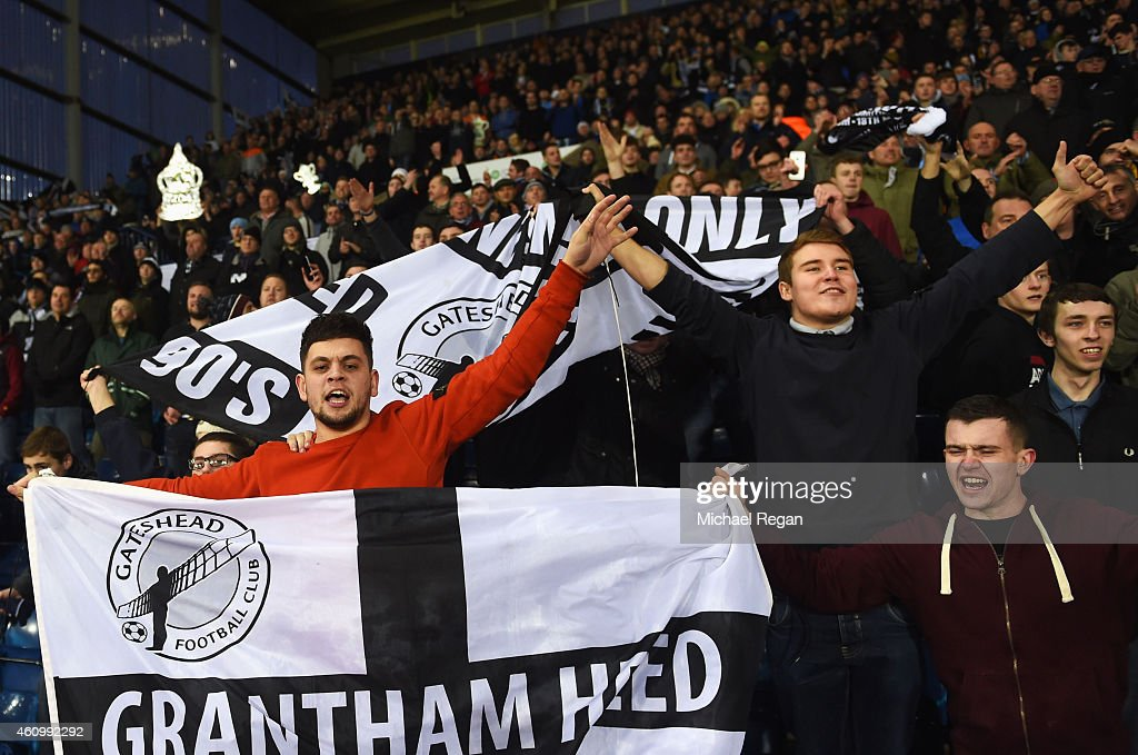 Gateshead fans show their support during the FA Cup Third Round match between West Bromwich Albion and Gateshead at The Hawthorns on January 3 2015...