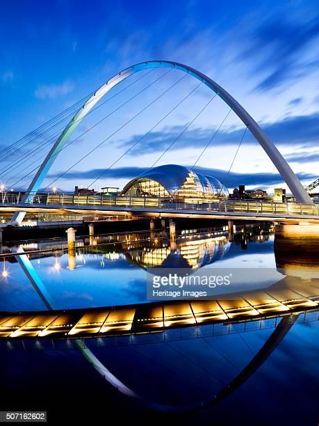 Gateshead Millennium Bridge connecting Gateshead and Newcastle upon Tyne 2008 General floodlit view of the Millennium Bridge and The Sage music...