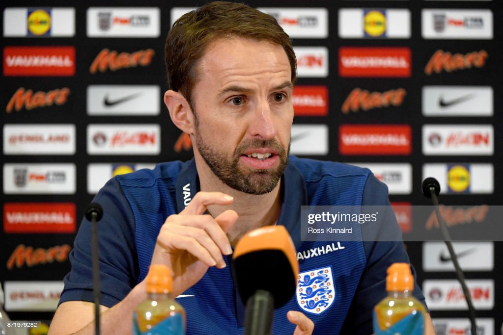 Gateth Southgate, manager of England, attends a press conference at St Georges Park on November 9, 2017 in Burton-upon-Trent, England.