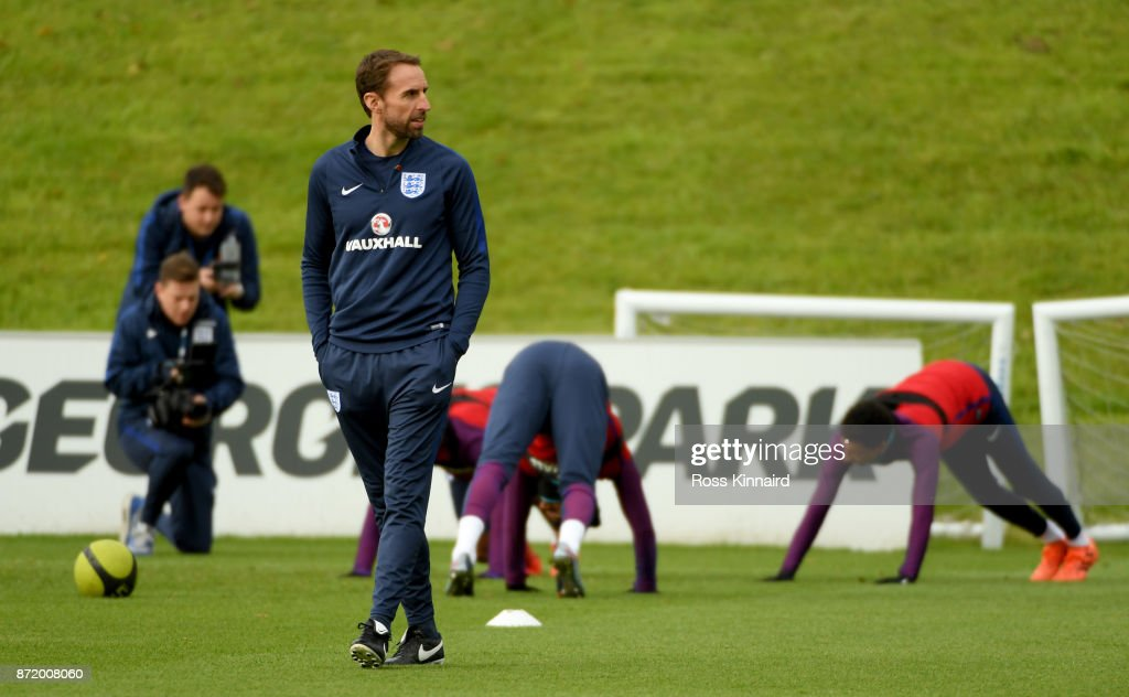 Gateth Southgate, the manager of England during a training session at St Georges Park on November 9, 2017 in Burton-upon-Trent, England.
