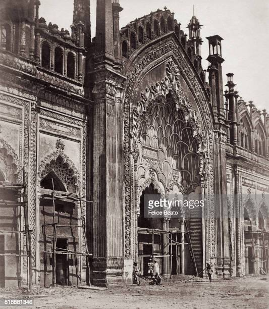 A gateway at the entrance to the Jumina Musjid a nineteenth century mosque in Lucknow India 1858 Vintage albumen print