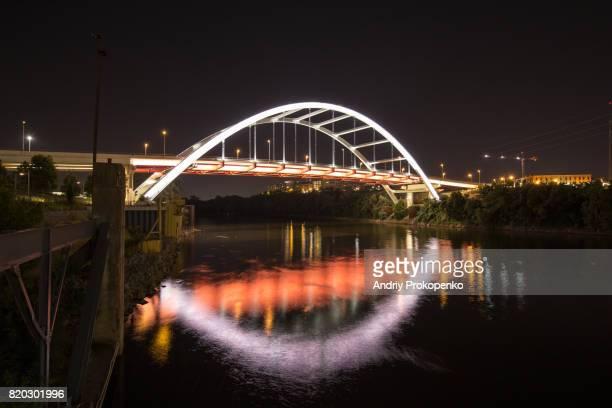 Gateway Boulevard Bridge in Nashville at Night, Tennessee, USA