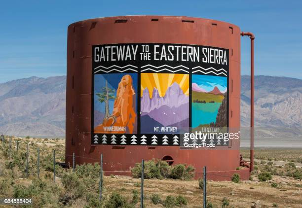 A 'Gateway to the Eastern Sierra' billboard along Highway 395 is viewed on April 4 near Olancha California Owens Valley is an arid valley in eastern...