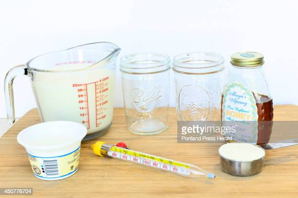 Gathered ingredients grouping of 1quart milk nonfat dry milk powder storebought unflavored cultured yogurt and honey to make yogurt at Cooperative...