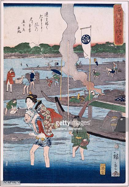 Gathering Clams on the Beach by Hiroshige
