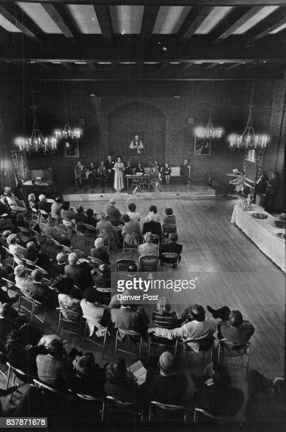 Gathering of middle aged liberals celebrating their own exploits during early days of the civil rights movement in Dagwell Hall St Johns honoring...