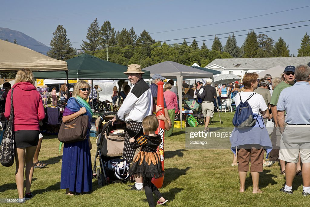 Gathering Of People At Small Town Country Fall Fair : Stock Photo