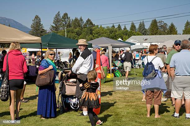 Gathering Of People At Small Town Country Fall Fair