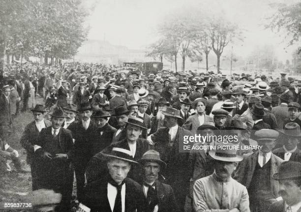 Gathering of the young recalled of the third categories Parade Ground Milan June 9 Italy World War I from L'Illustrazione Italiana Year XLII No 25...