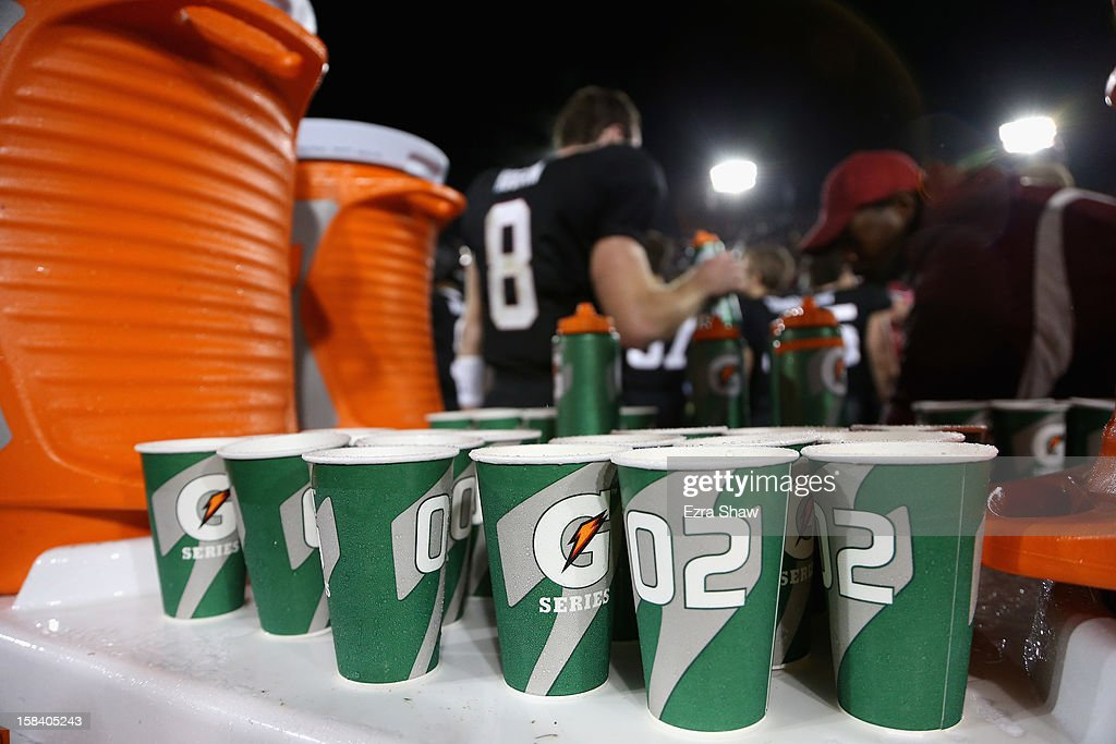 Gatorade bottles and cups on the sideline during the Stanford Cardinal game against the UCLA Bruins in the Pac-12 Championship game at Stanford Stadium on November 30, 2012 in Stanford, California.