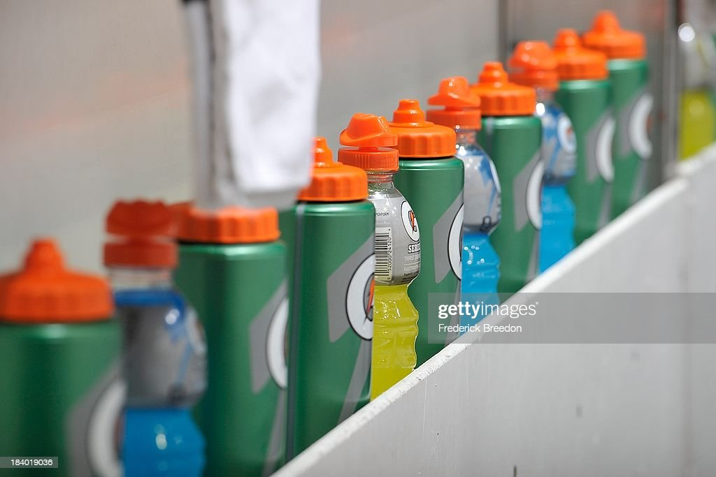 Gatorade bottles line the bench during warm ups prior to a game between the Nashville Predators and the Toronto Maple Leafs at Bridgestone Arena on October 10, 2013 in Nashville, Tennessee.
