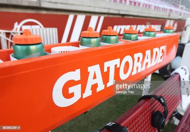 Gatorade bottles sit ready to use on the bench before the start of an college football game against the Utah Utes and Stanford Cardinal on October 7...