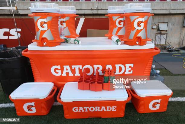 Gatorade containers sit ready to use on the bench before the start of an college football game against the Utah Utes and Stanford Cardinal on October...