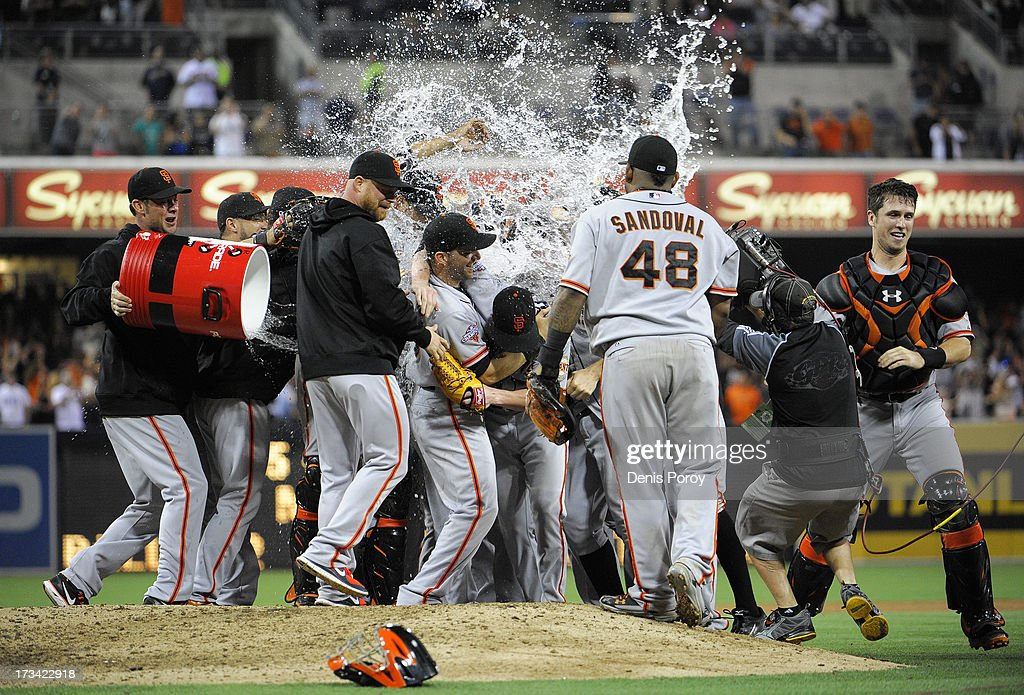 Gatorade is thrown over <a gi-track='captionPersonalityLinkClicked' href=/galleries/search?phrase=Tim+Lincecum&family=editorial&specificpeople=4175405 ng-click='$event.stopPropagation()'>Tim Lincecum</a> #55 of the San Francisco Giants and teammates of after he pitched a no-hitter during a baseball game against the San Diego Padres at Petco Park on July 13, 2013 in San Diego, California.