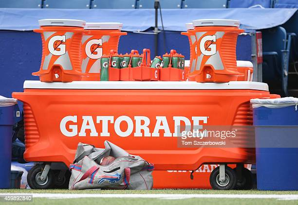 Gatorade stand with coolers and bottles on the Buffalo Bills sideline before NFL game action against the Cleveland Browns at Ralph Wilson Stadium on...