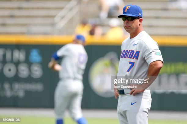 Gators Head Coach Kevin O'Sullivan watches his teams pregame drills before the college baseball game between the Florida Gators and the Vanderbilt...