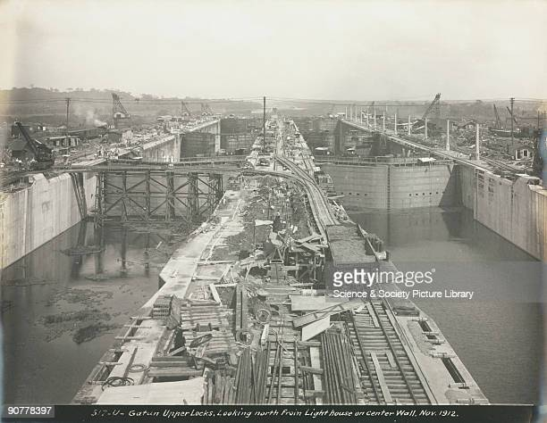 �Gatun Upper Locks Looking North from Lighthouse on Center Wall� One of a series of 12 photographs depicting the building of the Panama Canal in...