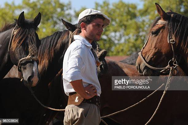 A gaucho looks after colts during the Patria Grande a festival held every Semana Criolla also called Easter Week at the Rural del Prado in Montevideo...