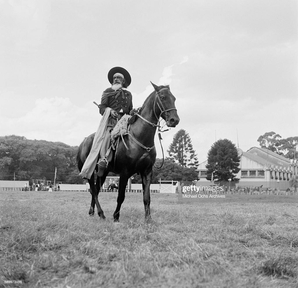 Gaucho rides his horse at the Patria Grande Festival in Montevideo Uruguay