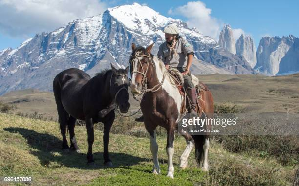 Gaucho (traditional migratory horseman) with Torres del Paine in the background, Torres del Paine National Park