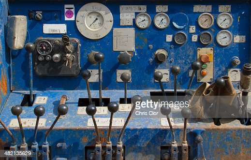 Gauges and levers on machinery