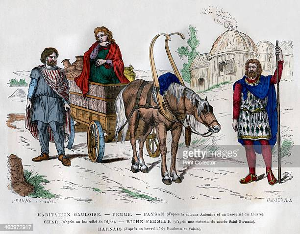 Gauls 18821884 A Gaulish dwelling a woman a peasant a wealthy dairy farmer and a horse in a harness A print from La France et les Français à Travers...