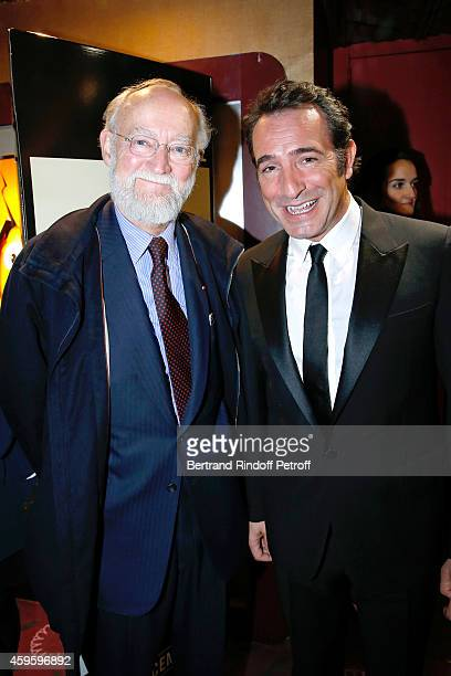 CEO Gaumont Nicolas Seydoux and actor Jean Dujardin attend the 'La French' Paris Premiere Held at Cinema Gaumont Capucine on November 25 2014 in...