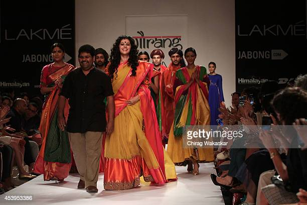 Gaurang Shah Taapsee Pannu walks the runway during day 3 of Lakme Fashion Week Winter/Festive 2014 at The Palladium Hotel on August 22 2014 in Mumbai...