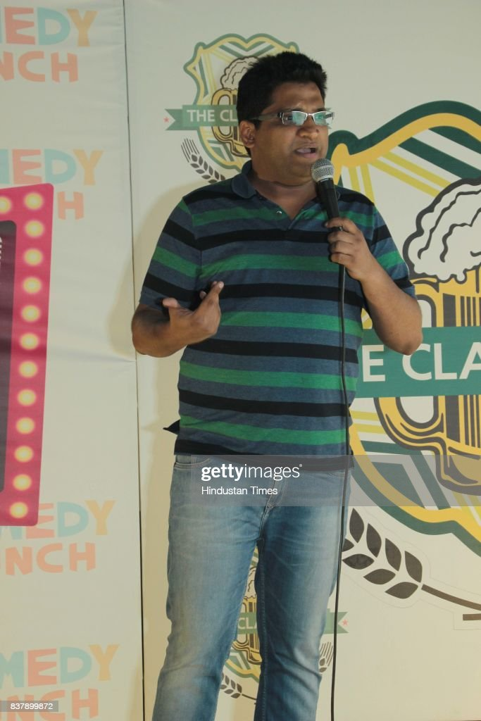 Gaurav Gupta, stand-up comedian, performs during the comedy night organised by The Classroom, Restro-Bar at Leisure Valley Road, Sector-29, on August 16, 2017 in Gurugram, India.