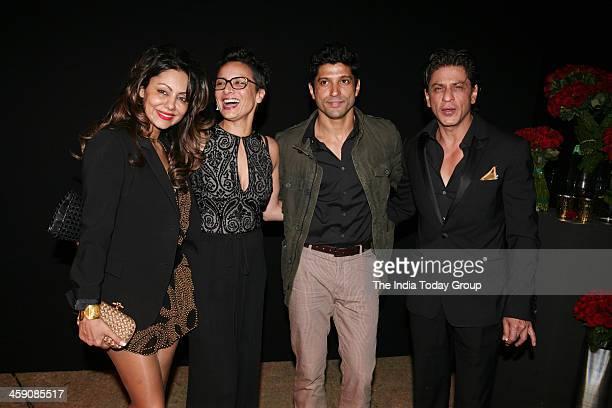 Gauri Khan Adhuna Akhtar Farhan Akhtar and Shahrukh Khan at the party thrown by Deepika Padukone to celebrate her success in Mumbai