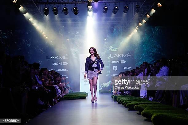 Gauri Khan walks the runwau during day3 as part of Lakme Fashion Week Summer/Resort 2015 at Palladium Hotel on March 20 2015 in Mumbai India
