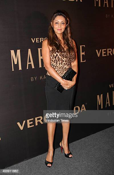 Gauri Khan wife of Bollywood actor Shahrukh Khan during the unveiling of Vero Moda collection designed by Bollywood filmmaker Karan Johar on...