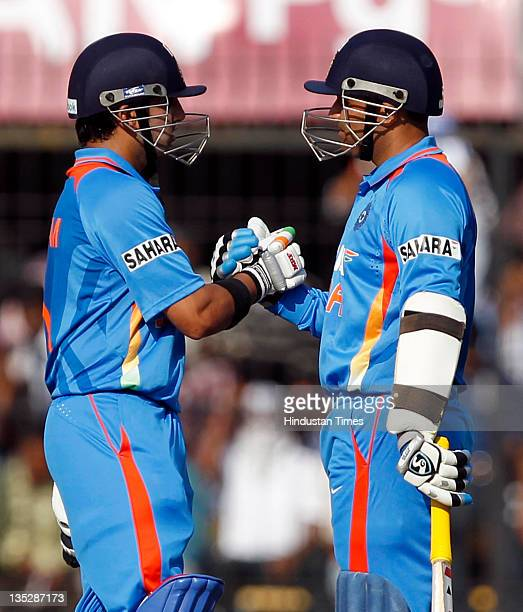 Gautam Gambhir and Virender Sehwag of India in action during the 4th One Day International between India and West Indies at Holkar Stadium in Indore...