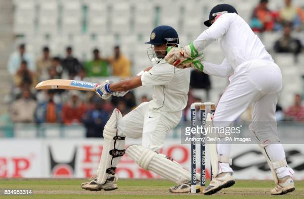 Gautam Gambhir bats during the first day of the second test at the Punjab Cricket Association Stadium Mohali India