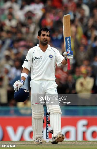 Gautam Gambhir celebrates scoring a century during the first day of the second test at the Punjab Cricket Association Stadium Mohali India