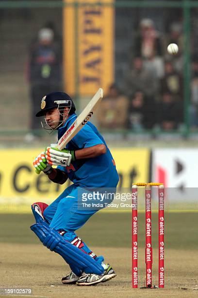 Gautam Gambhir ducks a bouncer during the third India Pakistan ODI in New Delhi