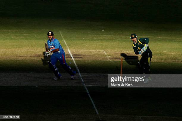 Gautam Gambhir of India bats as Matthew Wade of Australia keeps wicket during game four of the One Day International Series between Australia and...