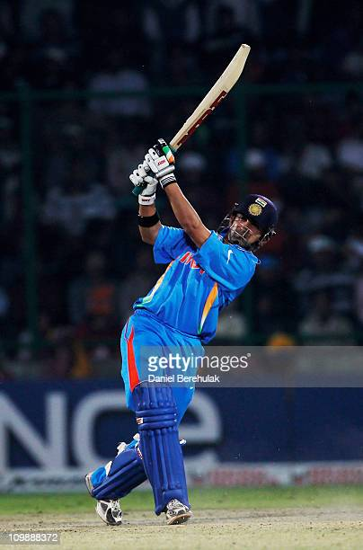 Gautam Gambhir of India bats during the 2011 ICC Cricket World Cup Group B match between India and the Netherlands at Feroz Shah Kotla stadium on...